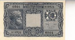 """Banconote Da 10 Lire Lotto Di 1 Biglietto_ N°0501 Serie 919926-"""" 2 SCANSIONI- - Altri"""