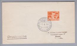 Heimat CH TG Kreuzlingen-Bernrain 1950-09-01 Bahnstationsstempel Auf Drucksache