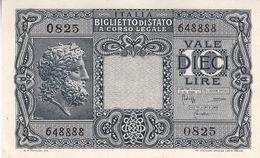 """Banconote Da 10 Lire Lotto Di 1 Biglietto_ N°0825 Serie 648888-"""" 2 SCANSIONI- - Italia"""