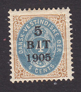 Danish West Indies, Scott #40, Mint Hinged, Number Surcharged, Issued 1905 - Denmark (West Indies)