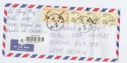 REGISTERED  Taipei TAIWAN COVER Multi Stamps To GB China - 1945-... República De China