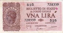 """Banconote/Banconota Da 1 Lira Lotto Di 1 Biglietto_ N°525 Serie 728339-"""" 2 SCANSIONI- - Altri"""
