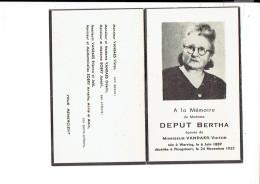 Dp 2475 DEPUT BERTHA WERVICQ 1889 + PLOEGSTEERT 1952 - Imágenes Religiosas