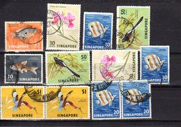 SINGAPORE LOT OF 18 USED STAMPS 2 SCANS