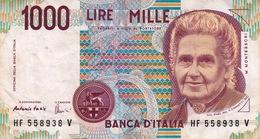 """Banconote/Banconota Da 1000 Lire_Montessori_ Lotto Di 1 Biglietto_ Serie HF 558938 V-"""" 2 SCANSIONI- - Italia"""