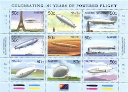 Nauru 2003 Mi. 557-565 Sheetlet MNH, 100 Year Aviation, Airships, Zeppelin, Eiffel, Mountains