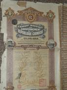 LOT DE 2 Obligations 500 Francs 1914, République De CHINE, Emprunt 5 % Or, Titre/Récépissé/Action/Bon Obligation - Aandelen