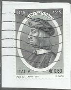 ITALIA REPUBBLICA ITALY REPUBLIC 2015 ALDO MANUZIO TIPOGRAFO E EDITORE € 0,80 USATO USED OBLITERE - 2001-10: Oblitérés
