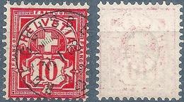 Ziffer 61B, 10 Rp.zinnober  RÜEGGISBERG  (Abklatsch)          1908
