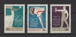 RUSSIE . YT 3004/3006 Neuf ** 20e Anniversaire D'Organisation Internationale 1965