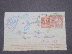 FRANCE - Carte Lettre Pneumatique De Paris + Complément Semeuse  En 1921 - L 7832