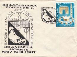 60611- CONSTANTIN BRANCUSI, SCULPTURES, SPECIAL COVER, 1987, ROMANIA