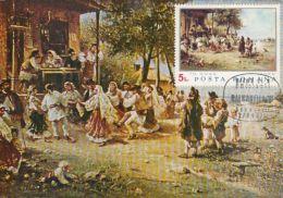 60616- THEODOR AMAN- THE ROUND DANCE, PAINTINGS, MAXIMUM CARD, OBLIT FDC, 1971, ROMANIA