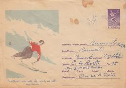 60685- SKIING, COVER STATIONERY, 1961, ROMANIA