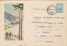 60686- SKIING, COVER STATIONERY, 1965, ROMANIA