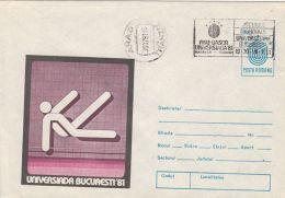 60700- WORLD UNIVERSITY GAMES, SWIMMING, COVER STATIONERY, 1981, ROMANIA