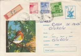 60760- FINCH, BIRDS, REGISTERED COVER STATIONERY, 1972, ROMANIA