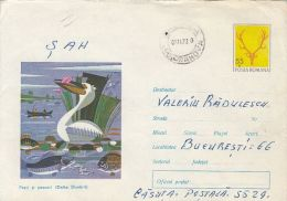 60775- PELICAN, FISH, BIRDS, COVER STATIONERY, 1972, ROMANIA