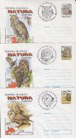 60783- EAGLE OWL, BARN OWL, TAWNY OWL, BIRDS, COVER STATIONERY, 3X, 1998, ROMANIA