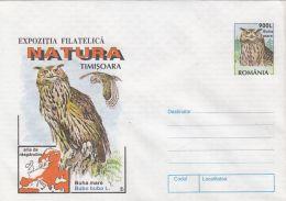 60784- EAGLE OWL, BIRDS, COVER STATIONERY, 1998, ROMANIA