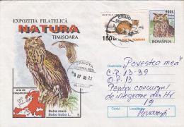 60785- EAGLE OWL, BIRDS, COVER STATIONERY, 1998, ROMANIA