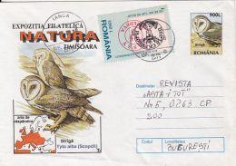 60787- BARN OWL, BIRDS, COVER STATIONERY, 1998, ROMANIA