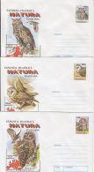 60789- TAWNY OWL, BARN OWL, EAGLE OWL, BIRDS, COVER STATIONERY, 3X, 1998, ROMANIA