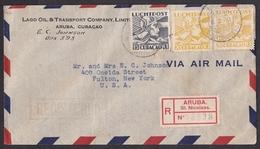 Curacao: Airmail Cover Aruba To USA, 1940, 3 Stamps, Curiosity: 2x R-label: St Nicolaas, Oranjestad (minor Discolouring) - Niederländische Antillen, Curaçao, Aruba