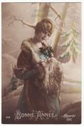 Beautiful Coquette Woman Vintage Fashion Fur Hand Warmer C1918 Tinted Retro Postcard - Fashion