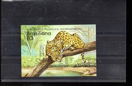 NICARAGUA BLOC 160** SUR UN JAGUAR POUR L EXPO BRASILIANA 83