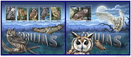 GUINEA BISSAU 2017 ** Owls Eulen Hiboux M/S+S/S - OFFICIAL ISSUE - DH1715
