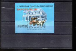 NICARAGUA BLOC 168** SUR UNE CALECHE POUR L EXPO EXPOFILNIC 84
