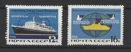 RUSSIE . YT 3085/6086 Neuf ** Inauguration De La Ligne Maritime Leningrad-Montréal 1966