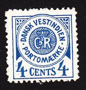 Danish West Indies, Scott #J2, Mint No Gum, Royal Cipher, Issued 1902 - Danemark (Antilles)