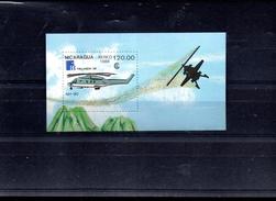 NICARAGUA BLOC 186** SUR UN HELICOPTERE  POUR L EXPO FINLANDIA 88