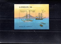 NICARAGUA BLOC 194** SUR UN VOILIER POUR L EXPO LONDON 90