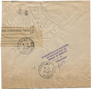 GANDON 15FR ROUGE LETTRE A FENETRE + GRIFFE AU DOS CORRESPONDANCE PARVENUE EN MAUVAISE ETAT PARIS XV 1950