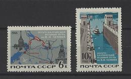 RUSSIE . YT 3133/3134 Neuf ** Voie Fluviale Volga-Baltique  1966