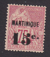 Martinique, Scott #20, Mint No Gum, French Issue Surcharged, Issued 1886 - Martinique (1886-1947)