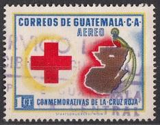 C219 Guatemala 1958 Croce Rossa Red Cross Mappa Quetzal Used