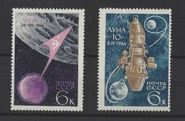 RUSSIE . YT 3188/3189 Neuf ** Lancements Spatiaux 1966