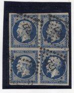 N°14A, Bleu Foncé En Bloc De 4, Avec Petite Variété, Signé, PC 1727