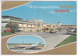 Lisboa (Portugal), Carte Multiview, Aéroport Intérnational, TAP, Boeing 727, écrite 1985 - Aerodrome