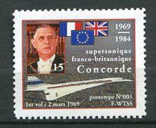 201 Vignette DE GAULLE 1984 Concorde - 1er Vol Le 2 Mars 1969 - Neuf ** (MNH) Sans Charniere