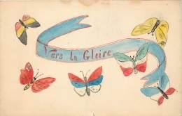 Fantaisie - Guerre 14/18 - Vers La Gloire - Carte Dessinée - Papillons Aux Couleurs Des Alliés - Patriotiques