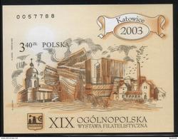 POLAND 2003 XIXth NATIONAL PHILATELIC EXHIBITION KATOWICE IMPERFORATED MS NHM Cathedral Mine Mining Silesian Uprising
