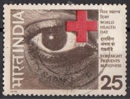 717 India 1976 Occhio E Croce Rossa Red Cross Used