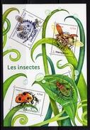 France 2017.Bloc Les Insectes.Demoiselle/Hanneton/Coccinelle/carabé.cachet Rond Gomme D'origine.