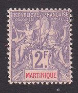 Martinique, Scott #52, Mint No Gum, Navigation And Commerce, Issued 1892 - Martinique (1886-1947)
