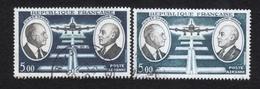 Poste Aérienne N° 46, 1 Clair Col De Veste Usée,vert Délavé Sous Avion ;1foncé, P A,Variété Variétés - Varieteiten: 1960-69 Afgestempeld